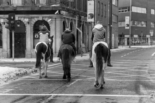 Bareback riders on the street of Dublin
